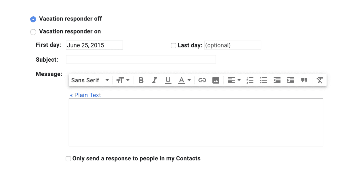 Gmail's vacation responder settings area. There are several fields. Some are prefilled.